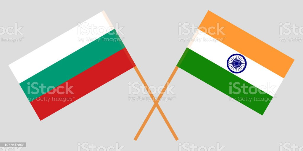Bulgaria and India. Bulgarian and Indian flags. Official colors. Correct proportion. Vector vector art illustration