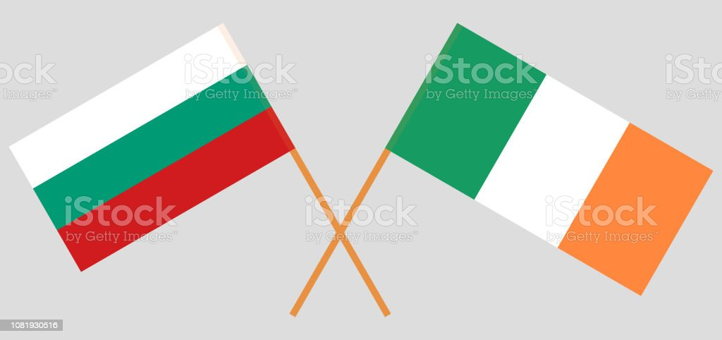 Bulgaria and Ireland. The Bulgarian and Irish flags. Official colors. Correct proportion. Vector vector art illustration