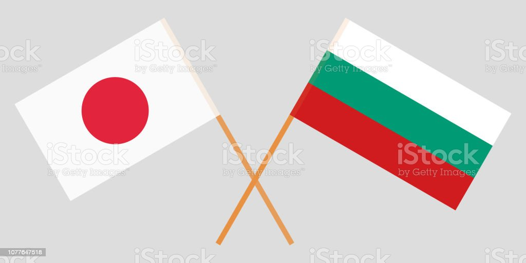 Bulgaria and Japan. The Bulgarian and Japanese flags. Official colors. Correct proportion. Vector vector art illustration