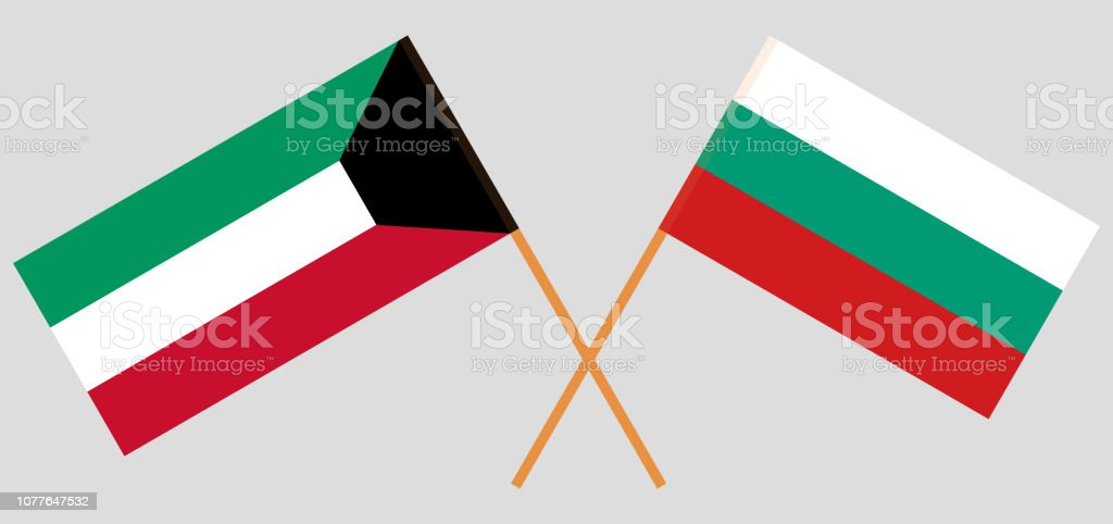 Bulgaria and Kuwait. The Bulgarian and Kuwaiti flags. Official colors. Correct proportion. Vector vector art illustration
