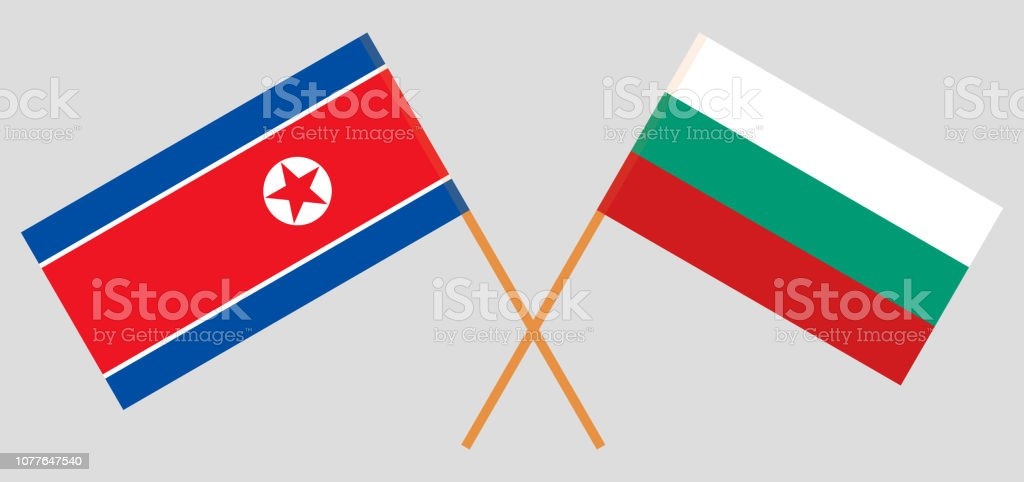 Bulgaria and North Korea. The Bulgarian and Korean flags. Official colors. Correct proportion vector art illustration