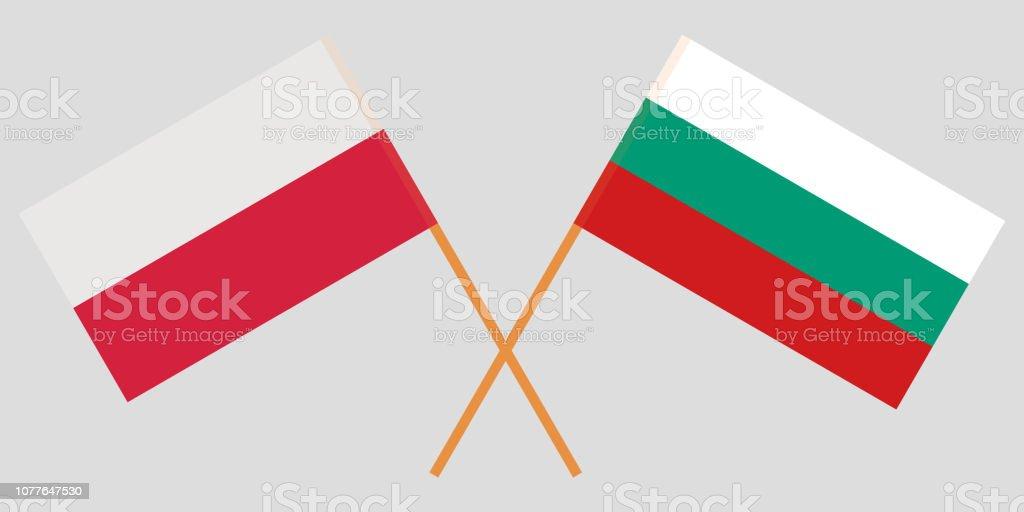 Bulgaria and Poland. The Bulgarian and Polish flags. Official colors. Correct proportion. Vector vector art illustration