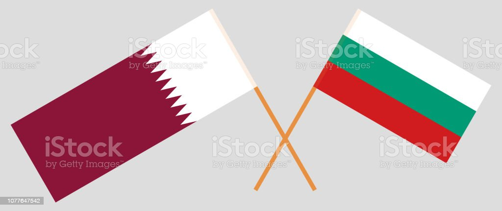 Bulgaria and Qatar. The Bulgarian and Qatari flags. Official colors. Correct proportion. Vector vector art illustration