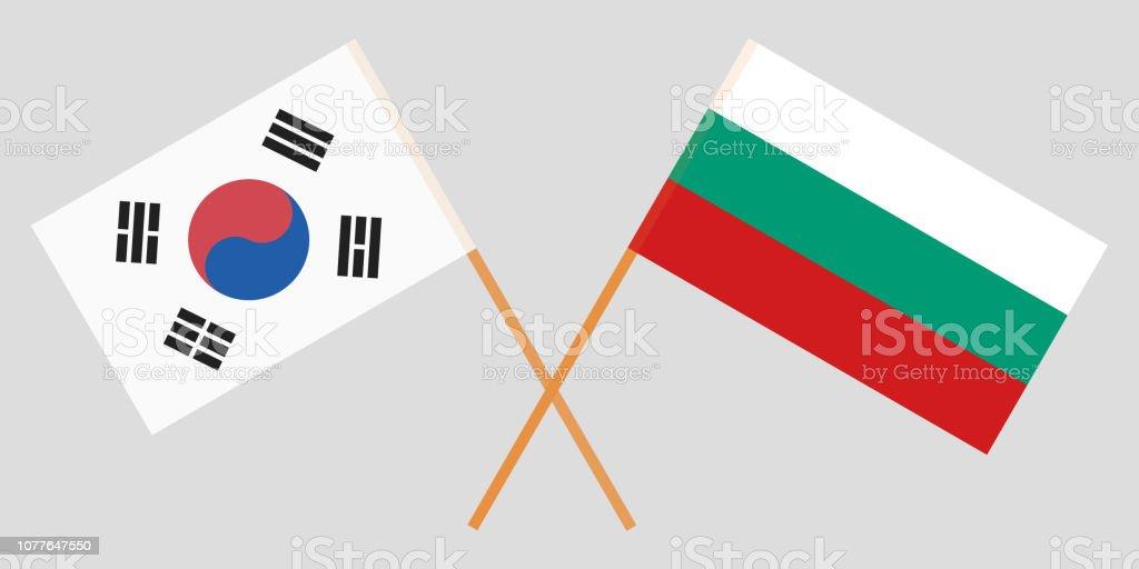 Bulgaria and South Korea. The Bulgarian and Korean flags. Official colors. Correct proportion. Vector vector art illustration