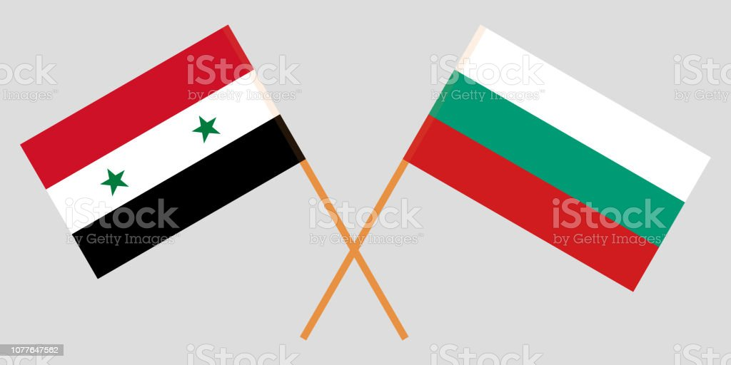 Bulgaria and Syria. The Bulgarian and Syrian flags. Official colors. Correct proportion. Vector vector art illustration