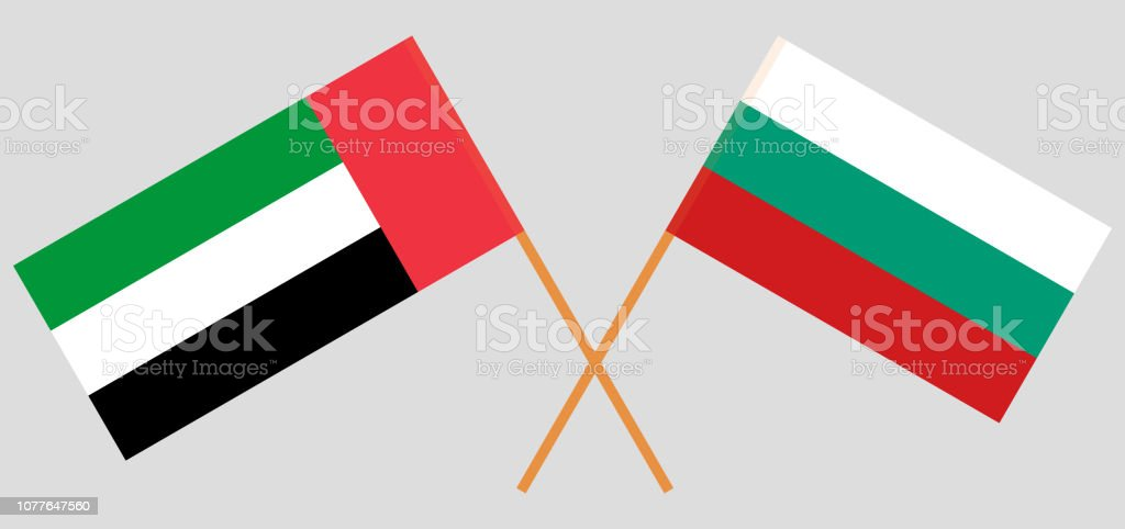 Bulgaria and UAE. The Bulgarian and United Arab Emirates flags. Official colors. Correct proportion. Vector vector art illustration