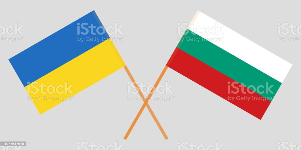 Bulgaria and Ukraine. The Bulgarian and Ukrainian flags. Official colors. Correct proportion. Vector vector art illustration