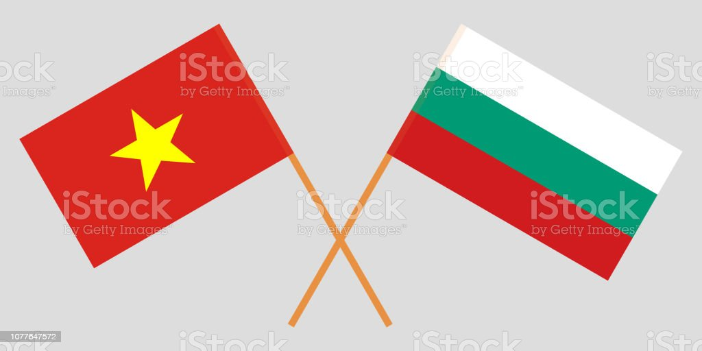 Bulgaria and Vietnam. The Bulgarian and Vietnamese flags. Official colors. Correct proportion. Vector vector art illustration