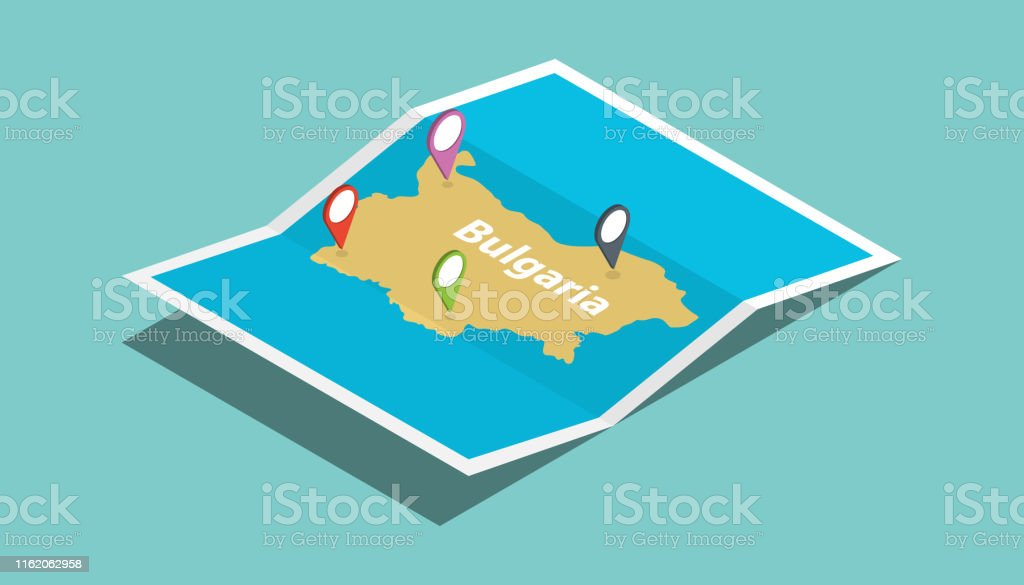 bulgaria explore maps with isometric style and pin location tag on...