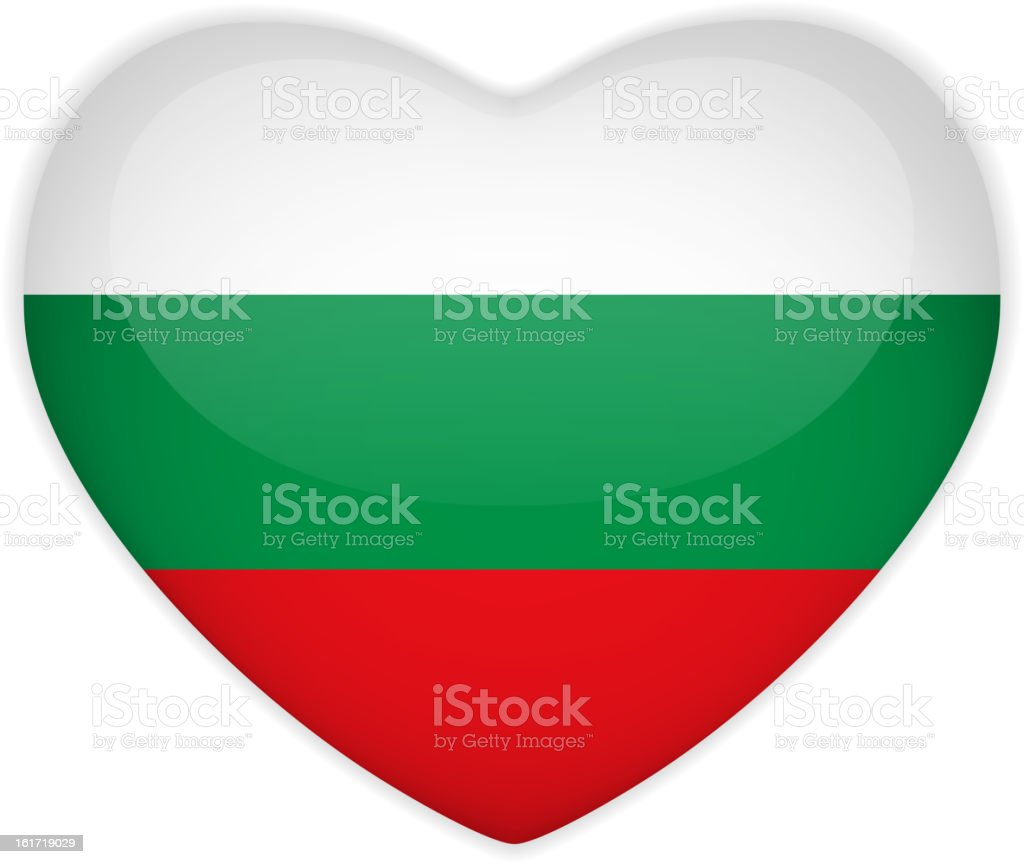 Bulgaria Flag Heart Glossy Button vector art illustration