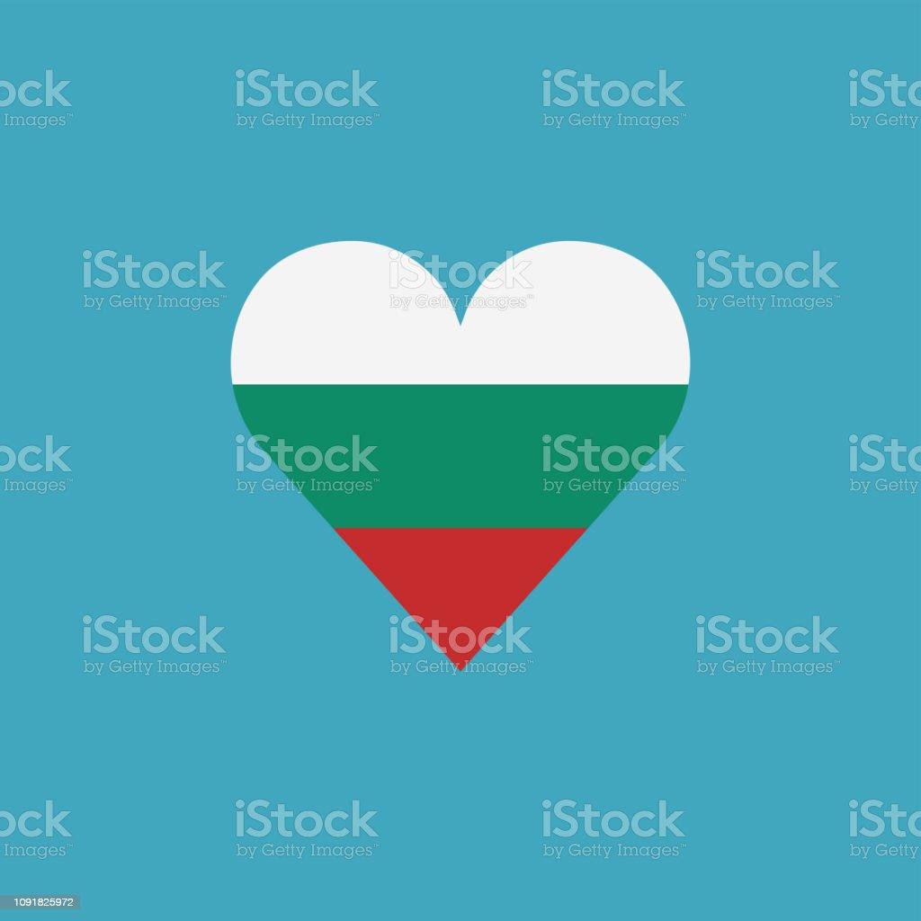Bulgaria flag icon in a heart shape in flat design vector art illustration