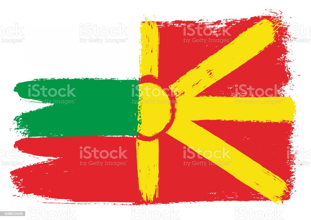 Bulgaria Flag & Macedonia Flag Vector Hand Painted with Rounded Brush vector art illustration