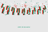 Bulgaria garland flag with confetti on gray background, Hang bunting for Bulgaria celebration template banner.
