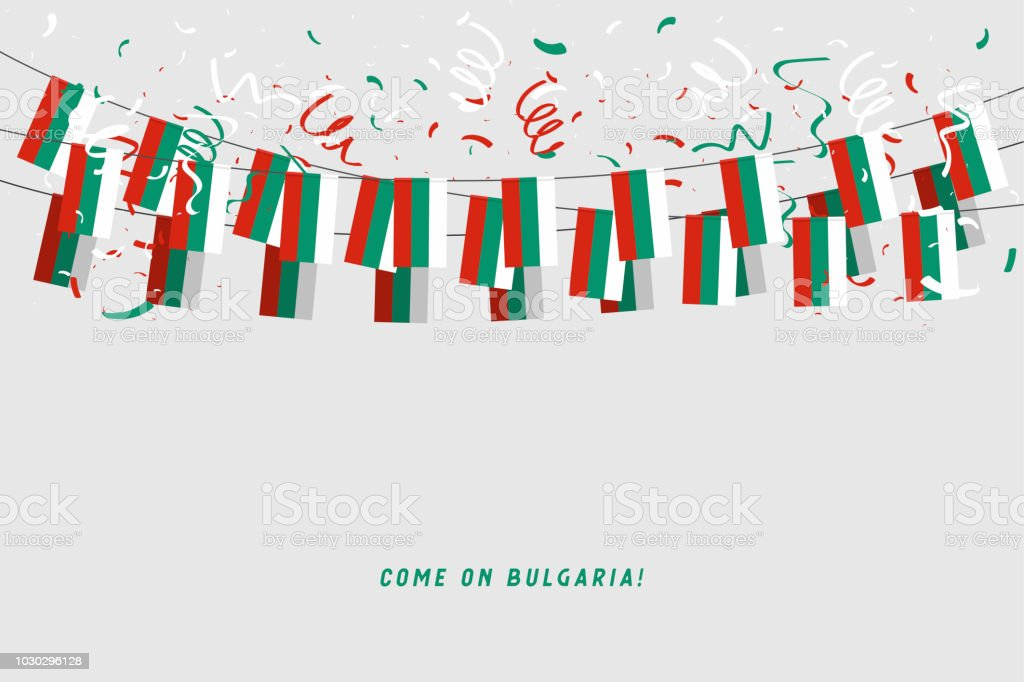 Bulgaria garland flag with confetti on gray background, Hang bunting for Bulgaria celebration template banner. vector art illustration