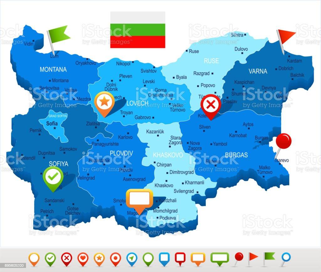 Karte Bulgarien.Bulgarien Karte Und Flagge Detaillierte Vektorillustration Stock Vektor Art Und Mehr Bilder Von Blau