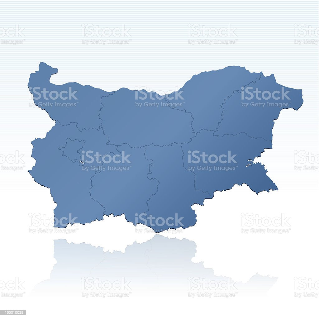 Bulgaria map blue royalty-free stock vector art