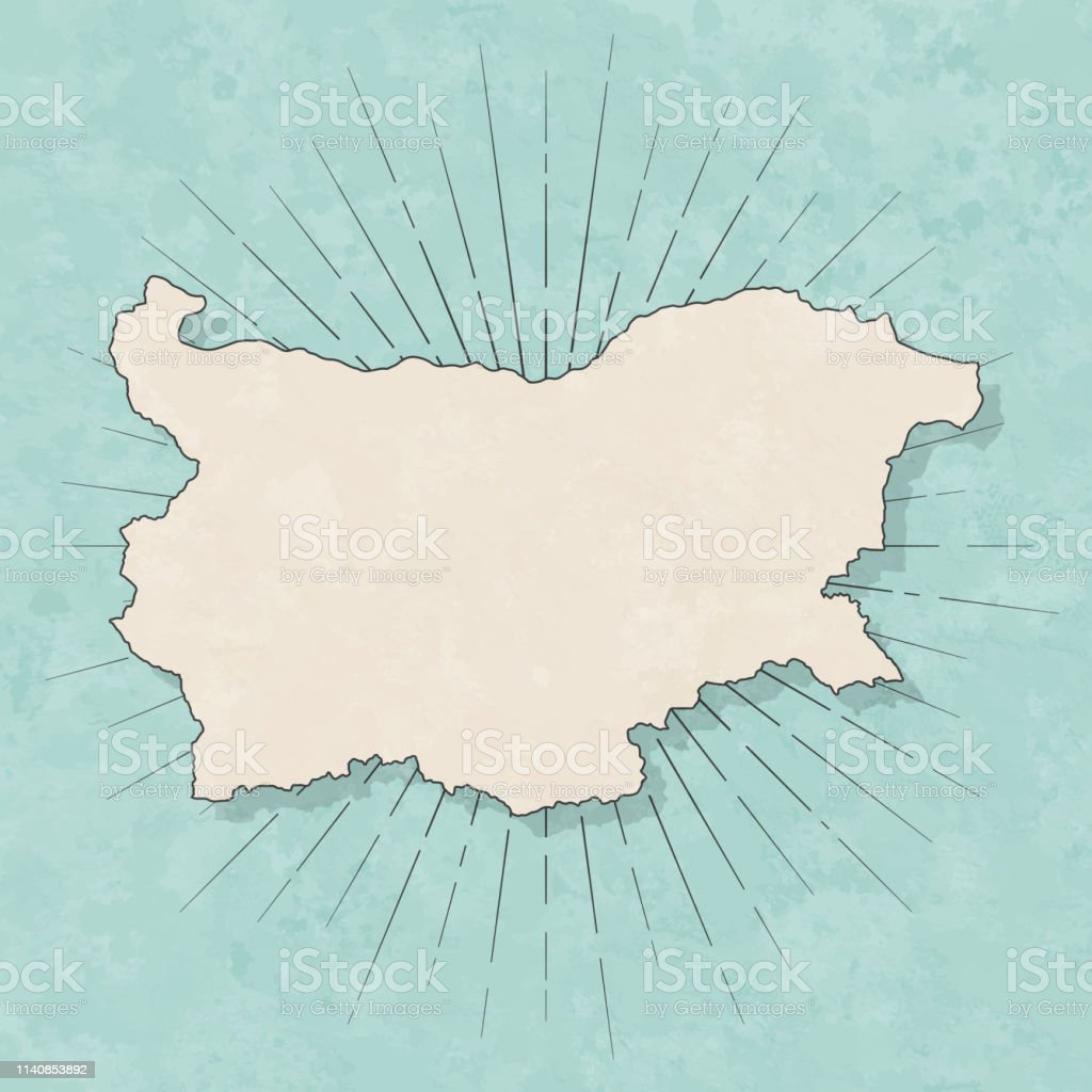 Map of Bulgaria in a trendy vintage style. Beautiful retro...