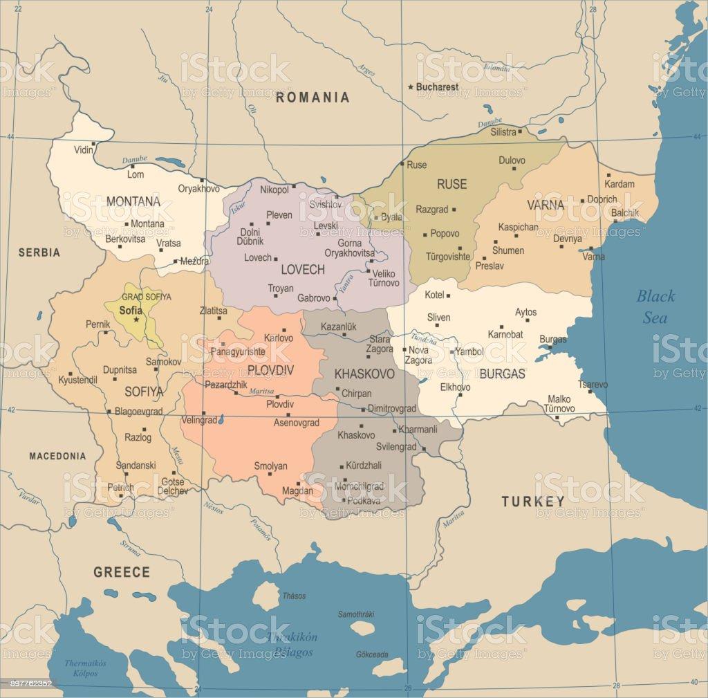 Bulgaria Map Vintage Detailed Vector Illustration Stock Vector Art