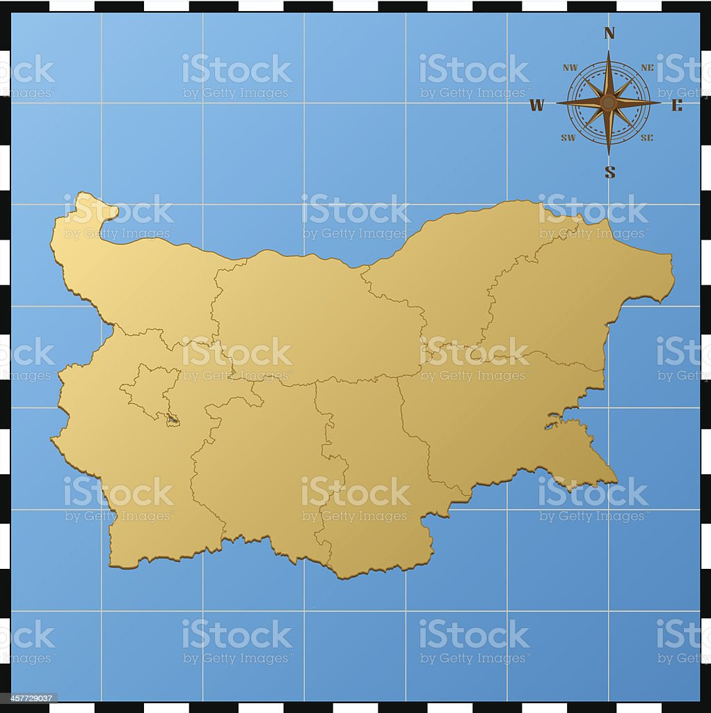 Bulgaria map with compass rose royalty-free stock vector art