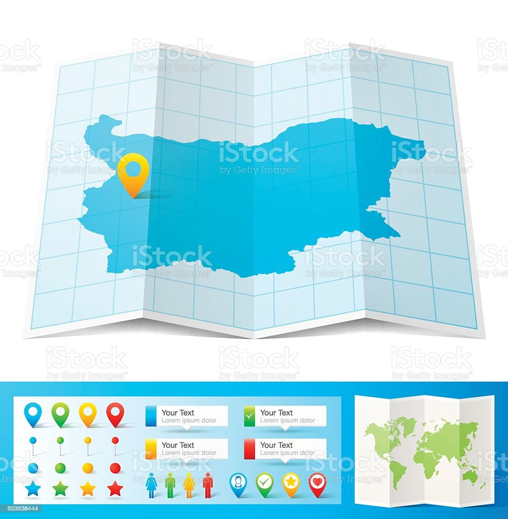 Bulgaria Map with location pins isolated on white Background vector art illustration