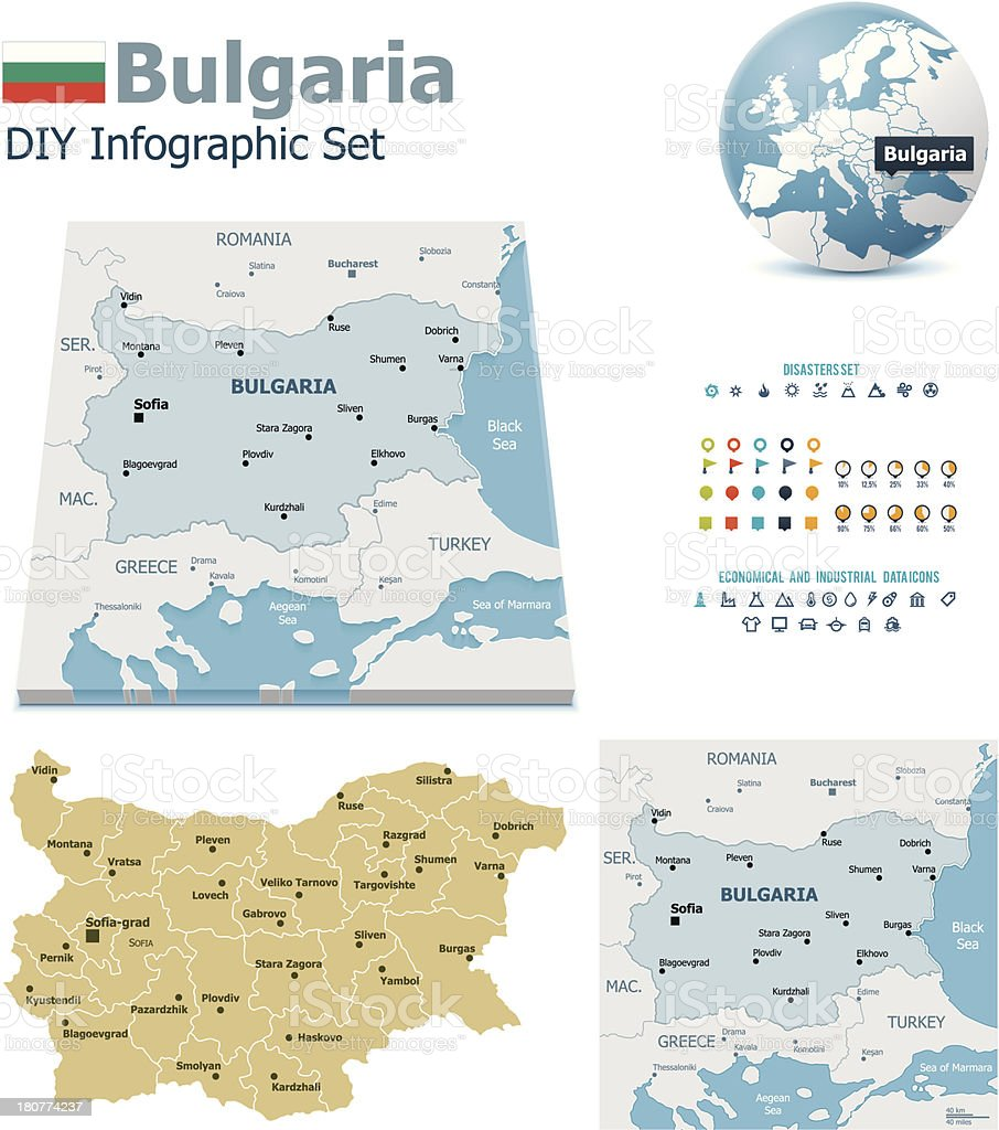 Bulgaria maps with markers royalty-free stock vector art