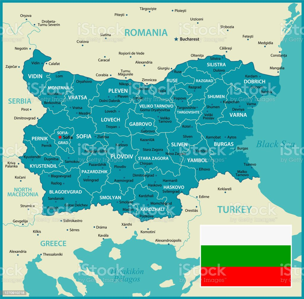 Picture of: Bulgaria Vector Map Political Map With Regions Geographical Borders Of Romania Greece Turkey And North Macedonia Stock Illustration Download Image Now Istock
