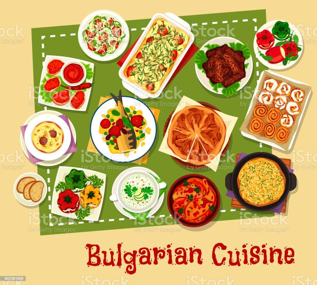 Bulgarian cuisine restaurant menu icon design vector art illustration