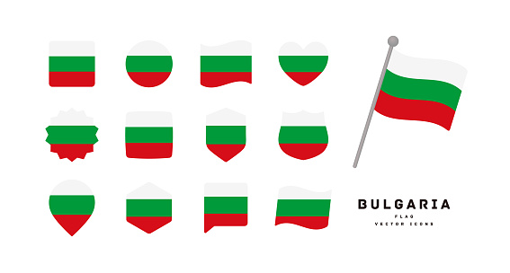 Bulgarian flag icon set vector illustration