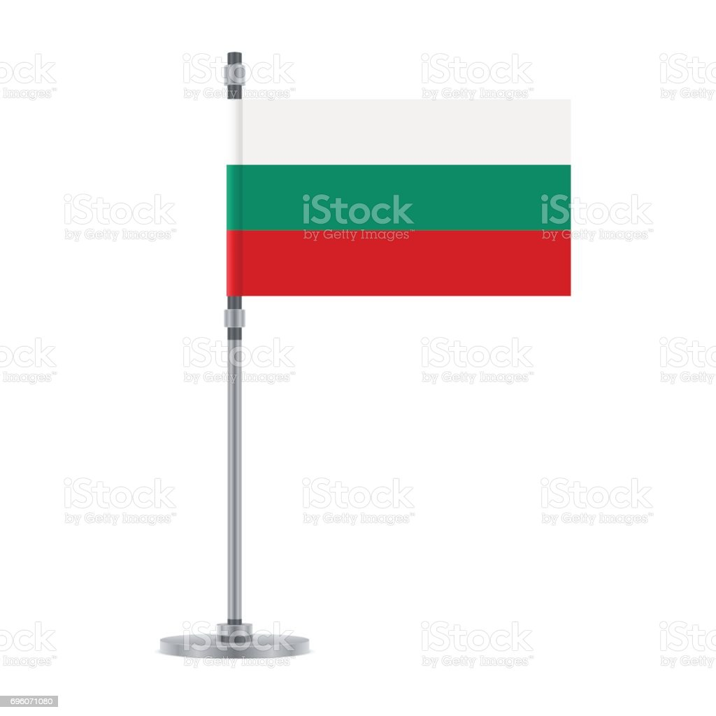 Bulgarian flag on the metallic pole, vector illustration vector art illustration