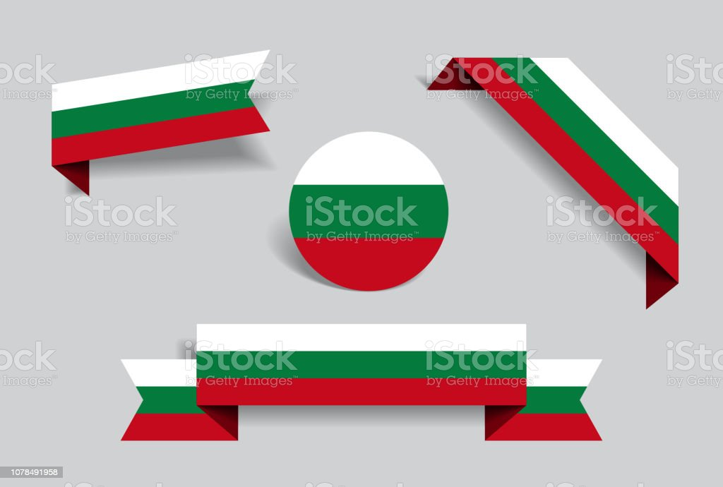 Bulgarian flag stickers and labels. Vector illustration. vector art illustration