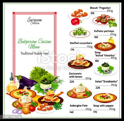 Bulgarian cuisine restaurant menu of yogurt salad and eggplant pate snacks with beef pepper soup, meatballs and lemon cake roll, stuffed cucumbers with cheese and cinnamon bun dessert. Menu vector