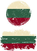 Bulgarian round and square grunge flags. Vector illustration