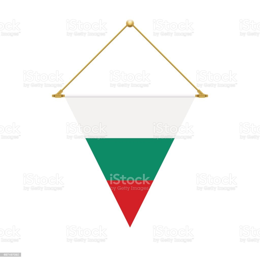 Bulgarian triangle flag hanging, vector illustration vector art illustration