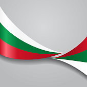 Bulgarian wavy flag. Vector illustration.