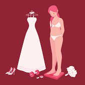 A bulging bride standing on the scale and being worried if she could fit into her wedding dress on the big day.