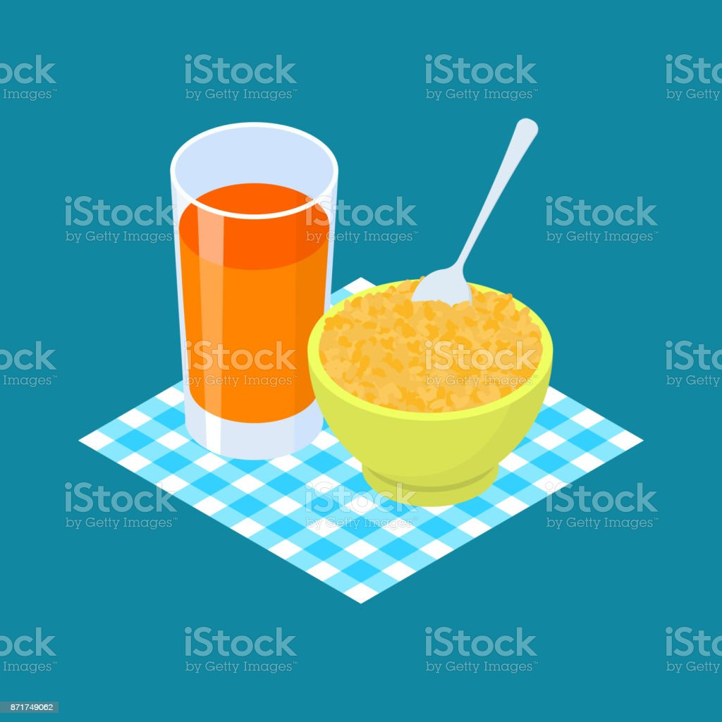 Bulgur Porridge and fruit juice. Breakfast Healthy food. Vector illustration vector art illustration