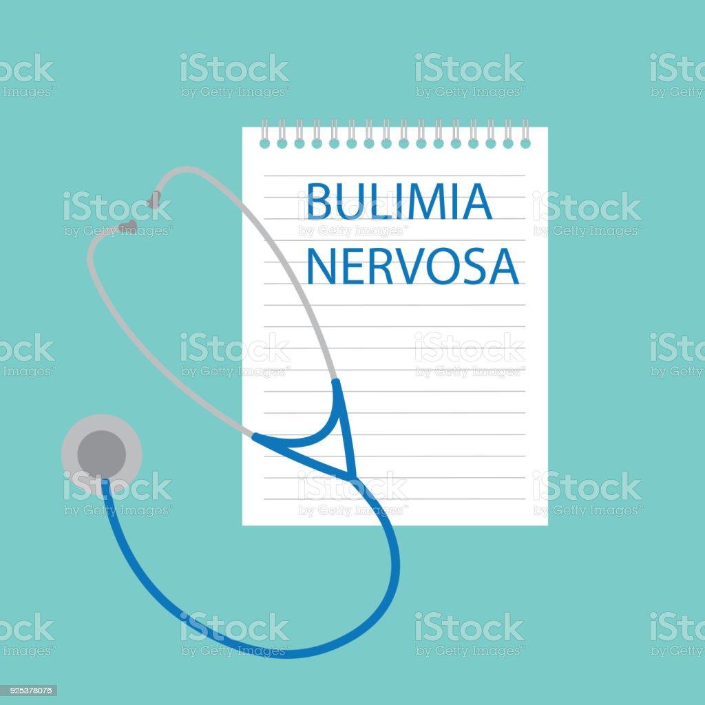 Bulimia Nervosa written in notebook vector art illustration