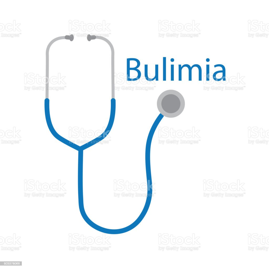 Bulimia text and stethoscope icon vector art illustration