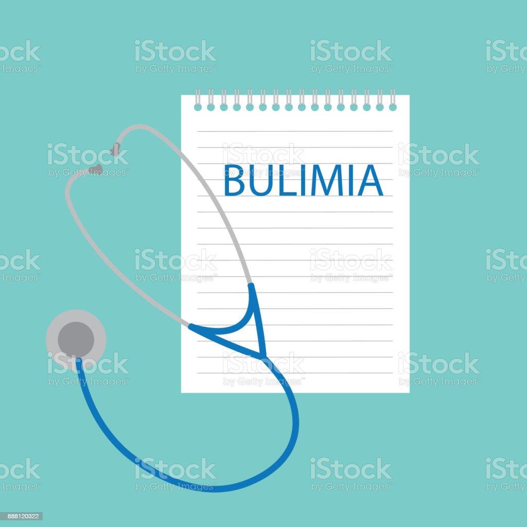 bulimia written in notebook vector art illustration