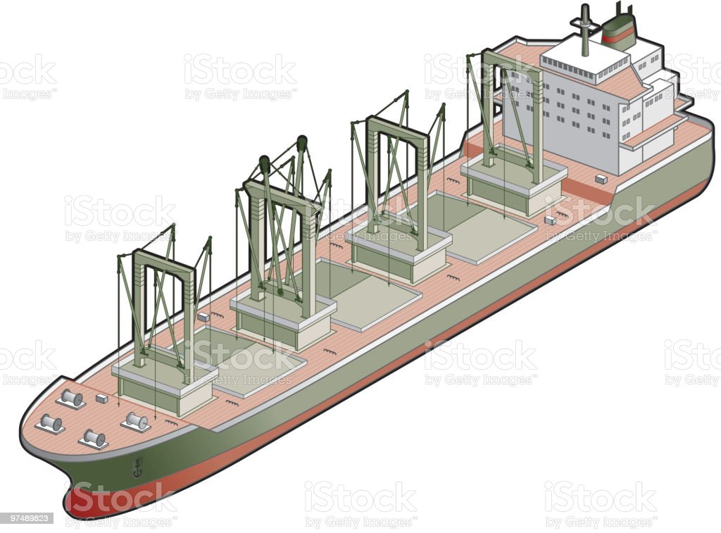 Bulk Carrier with Cranes Icon. Design Elements royalty-free stock vector art