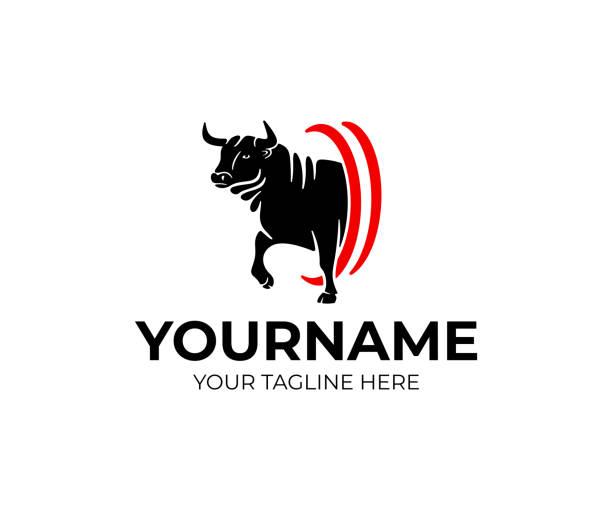 ilustrações de stock, clip art, desenhos animados e ícones de bull aggressive goes, pet and animal, design. farm, farming, ranch and cattle, vector design and illustration - beef angus