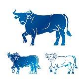 Bull ancient emblems elements set. Heraldic vector design elements collection. Retro style label, heraldry logo.