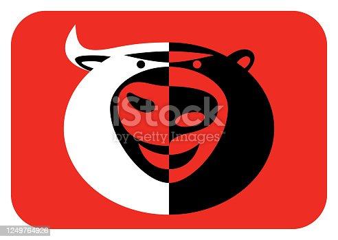 vector illustration of bull and bear head icon