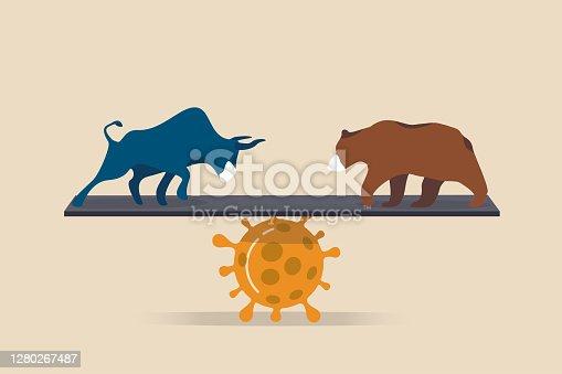 Bull and bear market in Coronavirus COVID-19 pandemic impact stock market and world economic concept, bull and bear wearing protective face mask balance on Coronavirus pathogen.