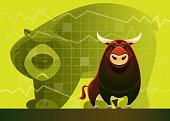 vector illustration of bull and bear market