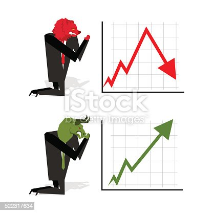 Bull and Bear pray to bet on stock exchange. Green up arrow. Red down arrow. Worship of money. Prayer quotes. Trader kneeling before graph. Allegory illustration for magazine business