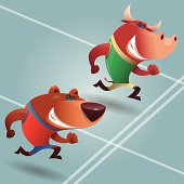 vector illustration of bull and bear running…