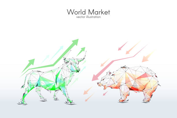 stockillustraties, clipart, cartoons en iconen met bull en bear beurs laag poly - bearmarkt