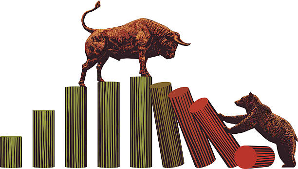 stockillustraties, clipart, cartoons en iconen met bull and bear -stock market trends - bullmarkt