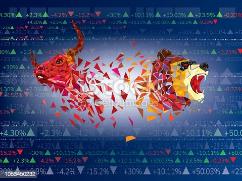 Bull and Bear symbols on stock market vector illustration. vector Forex or commodity charts, on abstract background. The symbol of the the bull and bear